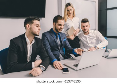 Small office team working together