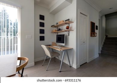 Small office work space in an apartment. Interior design.