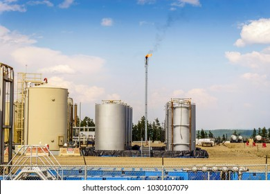 Small oil refinery next to Grande Prairie, Alberta, Canada