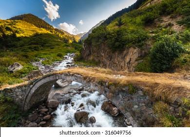 Small old bridge on a plateau on Kackar Mountains in the Black Sea Region, Turkey.