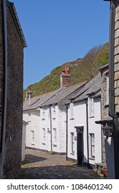 Small old cottages in the fishing village of Boscastle in Cornwall, England