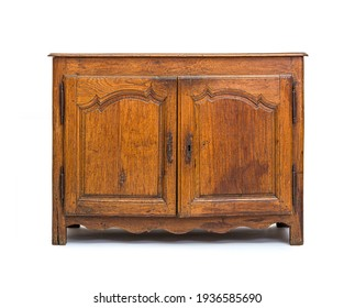 Small old oak cabinet, isolated on white
