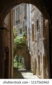 A small old street in the city of Crest, in Drome region