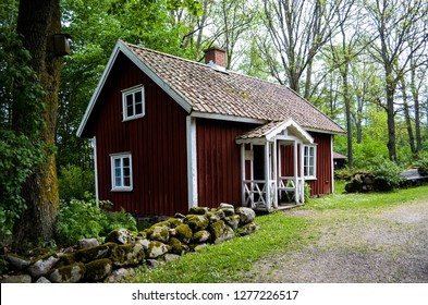 Small old swedish house in the green
