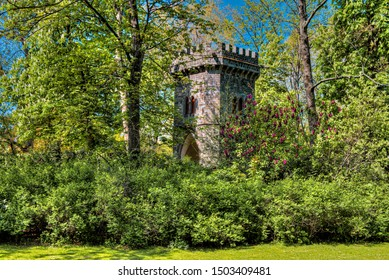"""A small old tower at the """"Rothschild-Park"""" at Frankfurt"""