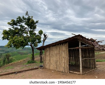 Small old wooden house on the hill