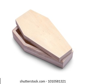 Small Open Wood Coffin Isolated on a White Background.