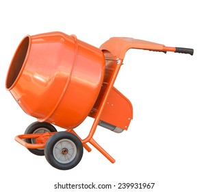 small orange concrete mixer machine and wheelbarrow isolate on white background