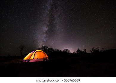 Small Orange Tent under the Milky Way