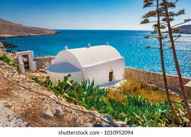 Small orthodox chapel near Pontamos beach on island of Halki (Greece)