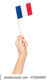 Small paper flag of France in woman's hand
