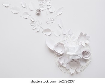 Small paper flowers leaves on white stock photo edit now 562726198 small paper flowers and leaves on the white background and white gift mightylinksfo