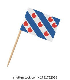 Small paper Frisian flag on wooden stick, isolated on white
