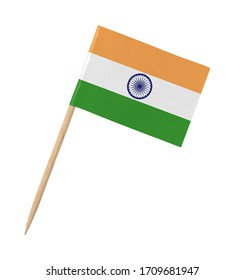 Small paper Indian flag on wooden stick, isolated on white