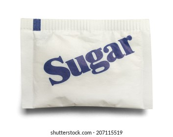 Small Paper Sugar Packet Isolated on a White Background.