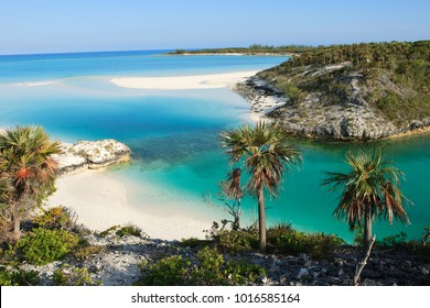 A small paradise beach located on Shroud Cay in the Bahamas.  Shroud Cay is part of the Exuma island chain and the Warderick Wells Land and Sea Park.  Perfect, isolated beach.