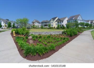 Small park in suburban neighborhood