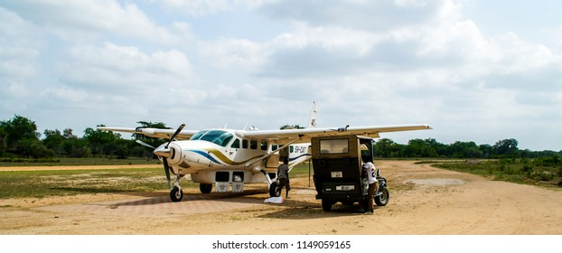 Small passenger airplane in the Selous National Park, Tanzania, circa January 2018