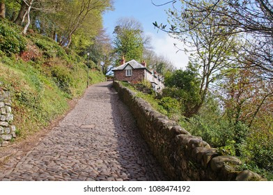 Small path running to the upper part of Clovelly, the northern part of Devon in England