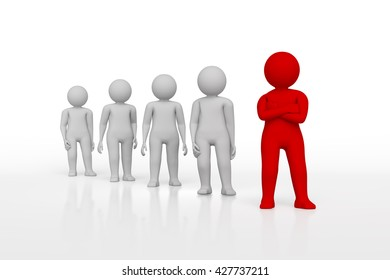 Small person the leader of a team allocated with red colour. 3d rendering. Isolated white background.