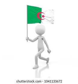 Small Person Walking with Algeria Flag in a Hand. 3D Rendering Image