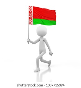 Small Person Walking with Belarus Flag in a Hand. 3D Rendering Image