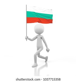 Small Person Walking with Bulgaria Flag in a Hand. 3D Rendering Image