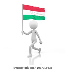Small Person Walking with Hungary Flag in a Hand. 3D Rendering Image