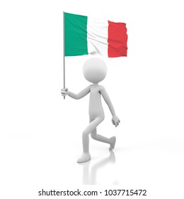 Small Person Walking with Italy Flag in a Hand. 3D Rendering Image