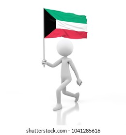 Small Person Walking with Kuwait Flag in a Hand. 3D Rendering Image