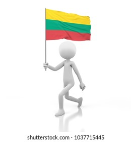 Small Person Walking with Lithuania Flag in a Hand. 3D Rendering Image