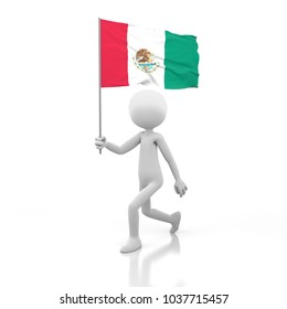 Small Person Walking with Mexico Flag in a Hand. 3D Rendering Image