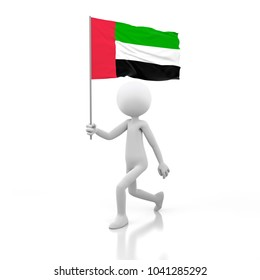 Small Person Walking with United Arab Emirates Flag in a Hand. 3D Rendering Image