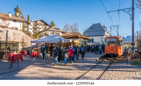 The small and picturesque village of Soprabolzano in Renon during Christimas Time. December-12-2018