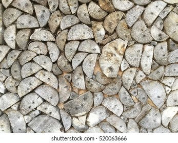 Small piece of natural wood logs used for design decorated wall, Black and white tone.