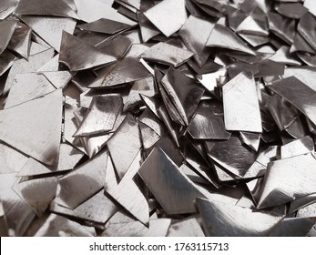small pieces of industrial metal waste flakes