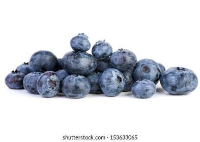 Small pile of bilberries on the white background