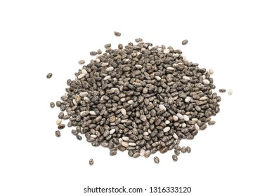 Small pile of chia seeds seen obliquely from above and isolated on white background
