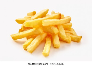 Small pile of french fries in close-up isolated on white background with shadow