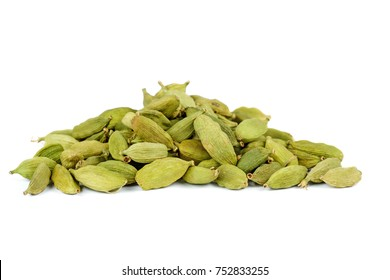 Small pile of green cardamon seeds isolated on the white background
