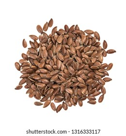 Small pile of linseeds or flax seed seen directly from above and isolated on white background