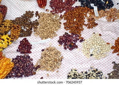 Small piles of colorful dried beans at Muyu Raymi, the indigenous seed festival in Cotacachi, Ecuador