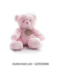 Small Pink Teddy Bear Toy on white background