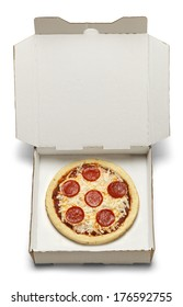 Small Pizza in White Cardboard Box Isolated on White Background.
