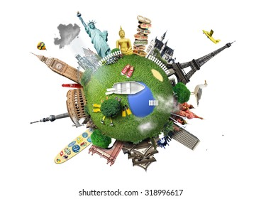 Small planet with landmarks around the world