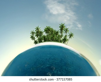 small planet, ocean, tropical island, palm trees
