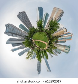 Small planet panorama of modern buildings in Lujiazui Finance District, Shanghai