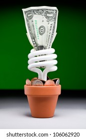 Small plant pot with a fluorescent light bulb a dollar and few dimes and pennies with a green background