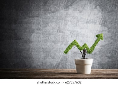 Small plant in pot shaped like growing graph