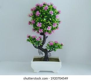 small plastic bonsai tree made of green purple color in a pot